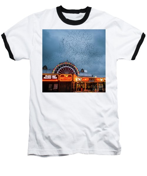Starlings Over The Neon Lights Of Aberystwyth Pier Baseball T-Shirt