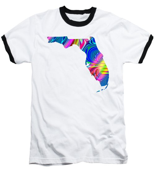 Baseball T-Shirt featuring the digital art State Of Florida Map Rainbow Splash Fractal by Rose Santuci-Sofranko