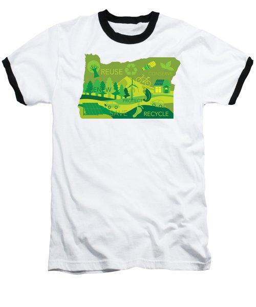 State Of Oregon Map Environment Eco Outline Baseball T-Shirt