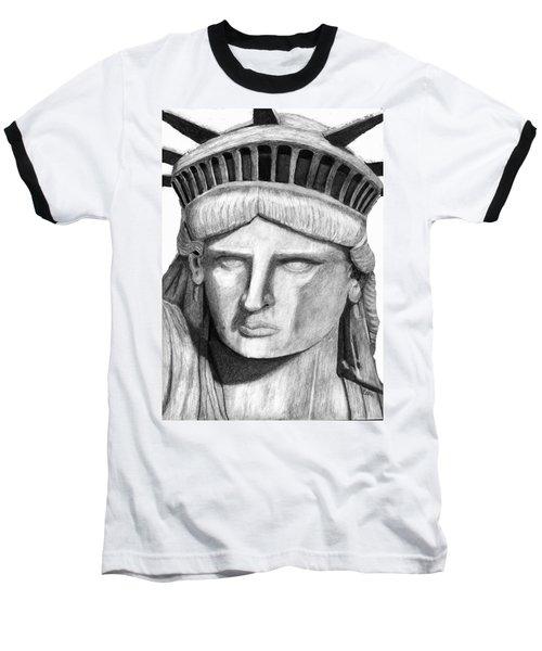 Baseball T-Shirt featuring the digital art Statue Of Liberty Selfie by Terry Cork