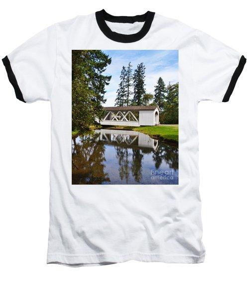 Stayton-jordon Covered Bridge Baseball T-Shirt by Ansel Price