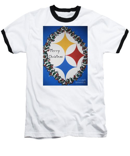 Steelers Christmas Card Baseball T-Shirt by Jeffrey Koss