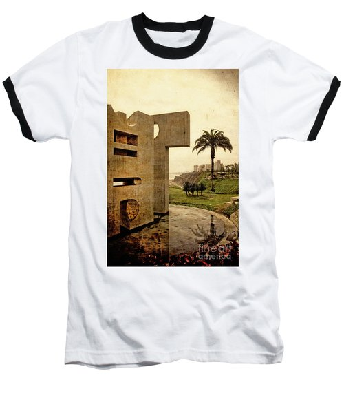 Baseball T-Shirt featuring the photograph Stelae In The Park - Miraflores Peru by Mary Machare