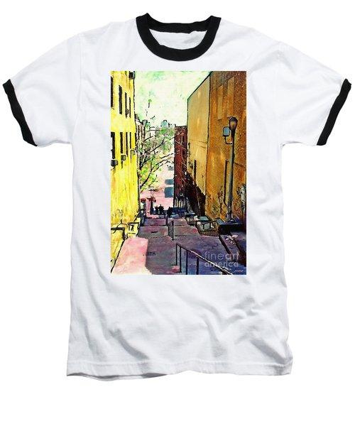 Steps At 187 Street Baseball T-Shirt by Sarah Loft