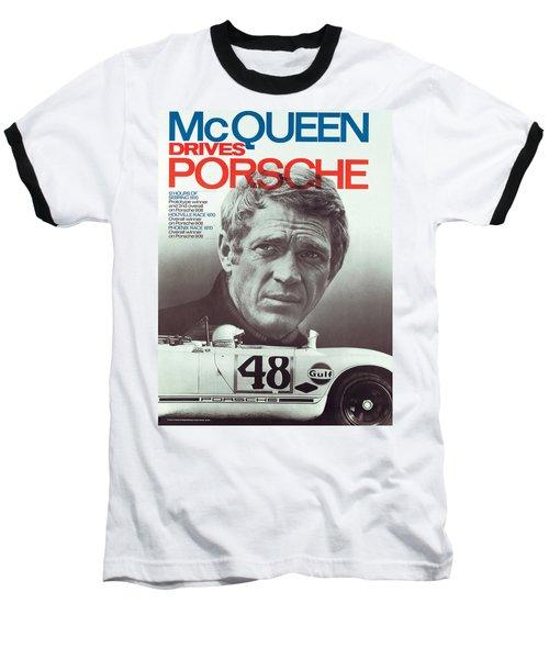 Steve Mcqueen Drives Porsche Baseball T-Shirt