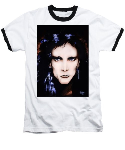 Baseball T-Shirt featuring the painting Steve Vai by Curtiss Shaffer