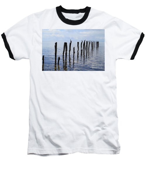 Baseball T-Shirt featuring the photograph Sticks Out To Sea by Stephen Mitchell