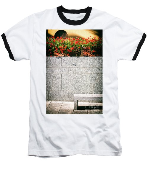 Baseball T-Shirt featuring the photograph Stone Bench With Flowers by Silvia Ganora