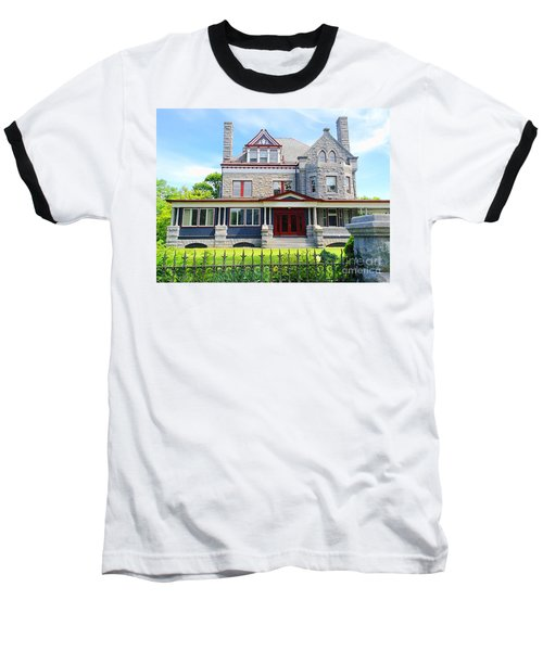 Baseball T-Shirt featuring the photograph Stone Mansion Red Doors by Becky Lupe