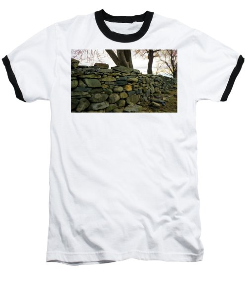 Baseball T-Shirt featuring the photograph Stone Wall, Colt State Park by Nancy De Flon