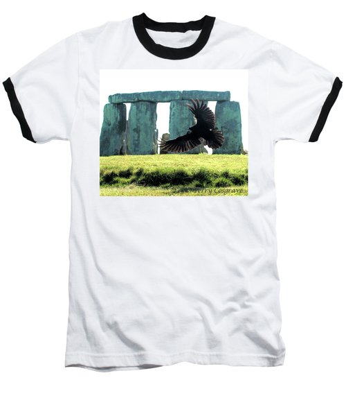 Stonehenge Crow Baseball T-Shirt by Terry Cosgrave