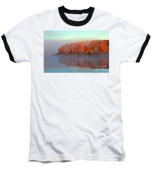 Stoneledge Lake Pristine Beauty In The Fog Baseball T-Shirt by Terri Gostola