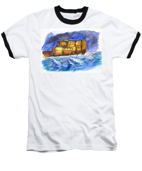Stormy Castle Dell'ovo, Napoli Baseball T-Shirt by Clyde J Kell