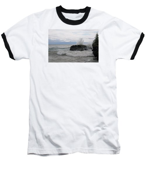 Baseball T-Shirt featuring the photograph Stormy Morning On Superior by Sandra Updyke
