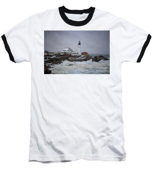 Stormy Portland Head Light Baseball T-Shirt