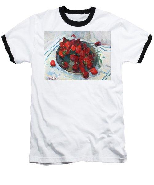 Strawberry On White Baseball T-Shirt