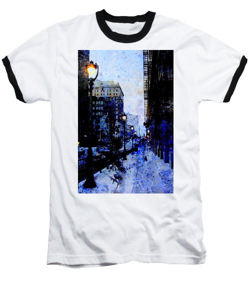 Street Lamps Sidewalk Abstract Baseball T-Shirt