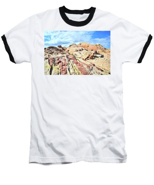 Stripes Of Valley Of Fire Baseball T-Shirt by Ray Mathis