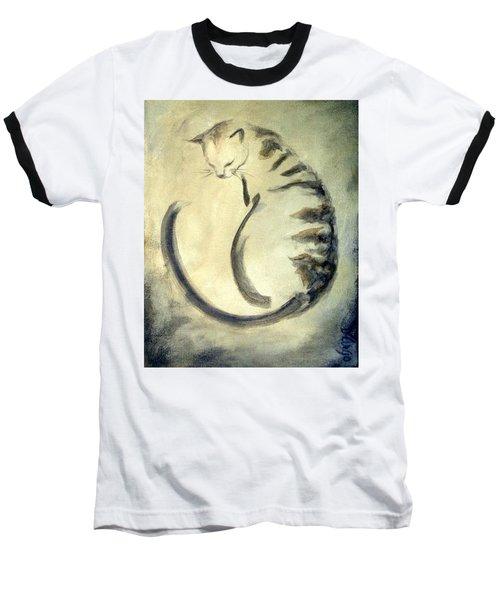 Stripey Cat 1  Baseball T-Shirt by Dina Dargo
