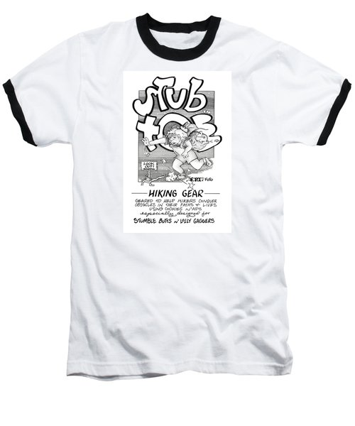 Baseball T-Shirt featuring the drawing Real Fake Newsstub Toe Hiking Gear Ad by Dawn Sperry