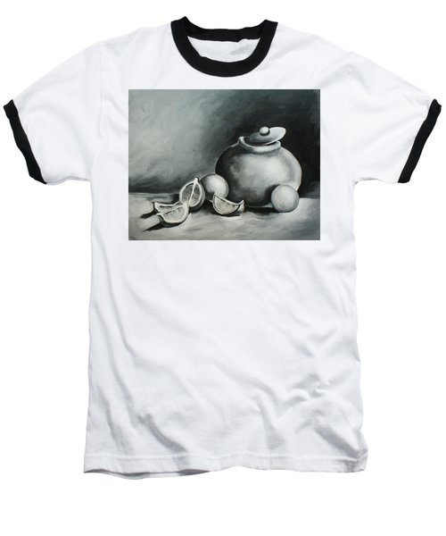 Study Of Lemons, Oranges And Covered Jug In Black And White Baseball T-Shirt