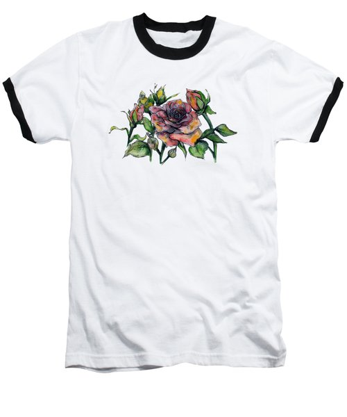 Stylized Roses Baseball T-Shirt