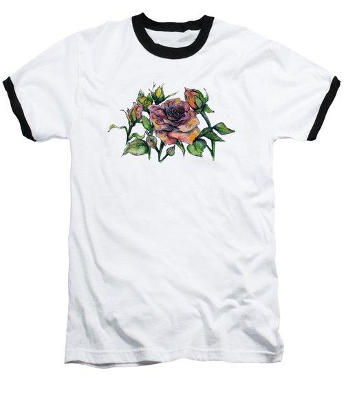 Stylized Roses Baseball T-Shirt