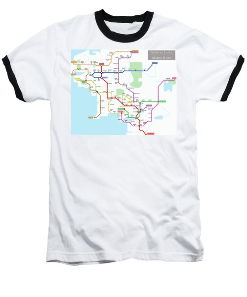 Subway Lines Of Middle Earth Baseball T-Shirt
