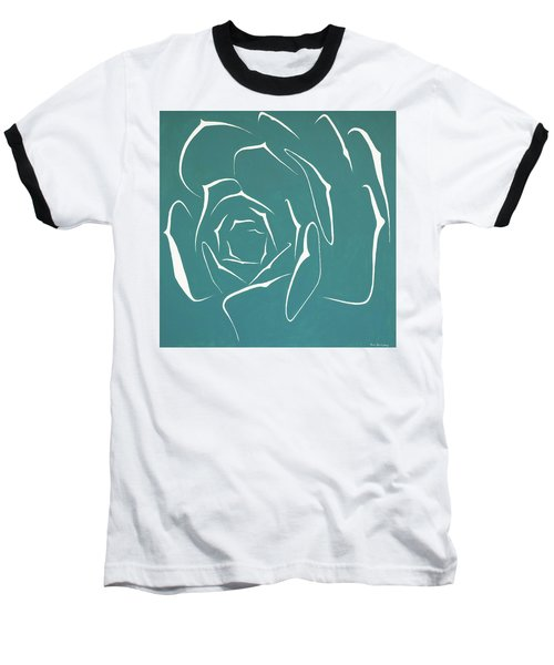Baseball T-Shirt featuring the painting Succulent In Turquoise by Ben Gertsberg