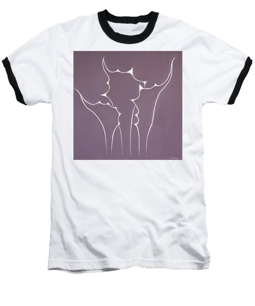 Baseball T-Shirt featuring the painting Succulent In Violet by Ben Gertsberg