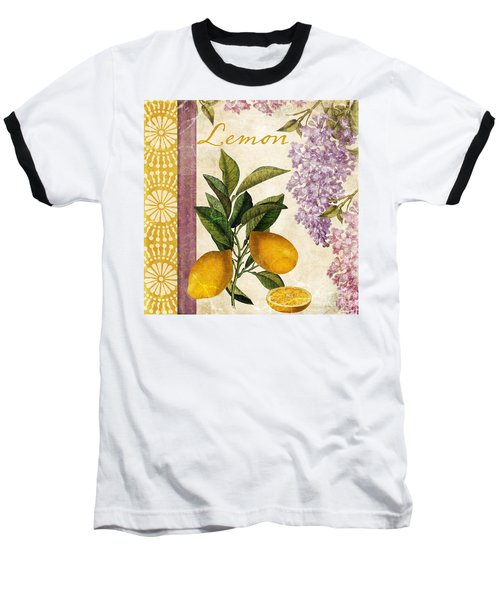 Summer Citrus Lemon Baseball T-Shirt by Mindy Sommers