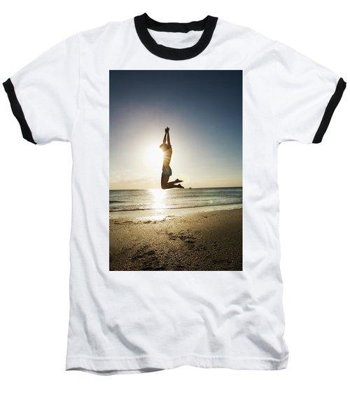 Summer Girl Summer Jump  Baseball T-Shirt by Amyn Nasser