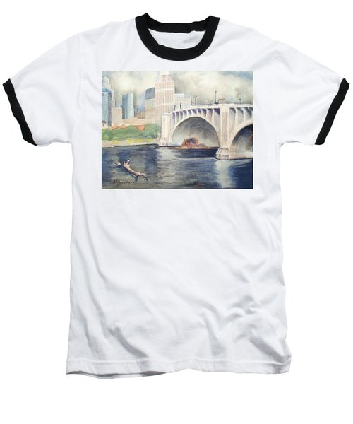 Baseball T-Shirt featuring the painting Summer Rain by Marilyn Jacobson