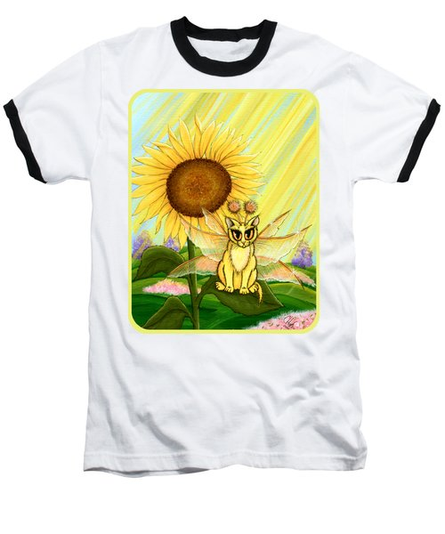 Summer Sunshine Fairy Cat Baseball T-Shirt by Carrie Hawks