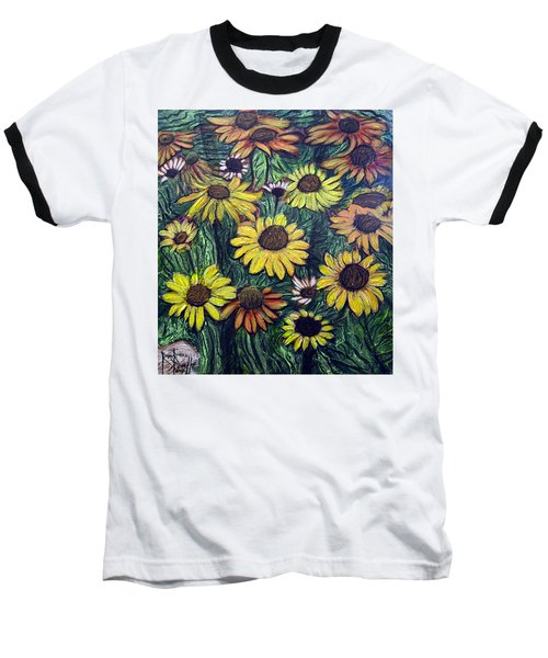Baseball T-Shirt featuring the painting Summertime Flowers by Ron Richard Baviello