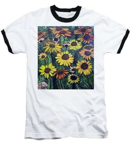 Summertime Flowers Baseball T-Shirt by Ron Richard Baviello