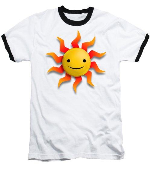 Baseball T-Shirt featuring the digital art Sun Face No Background by John Wills