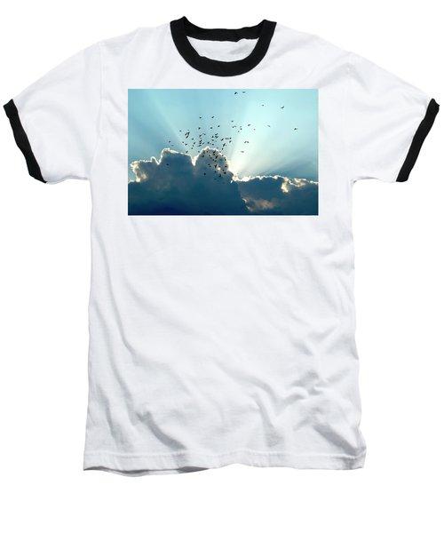 Sun Ray Aerobatics Blue Sky Baseball T-Shirt