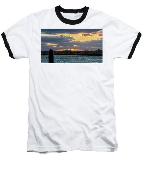 Sun Rays Over The Intracoastal  Baseball T-Shirt by Nance Larson