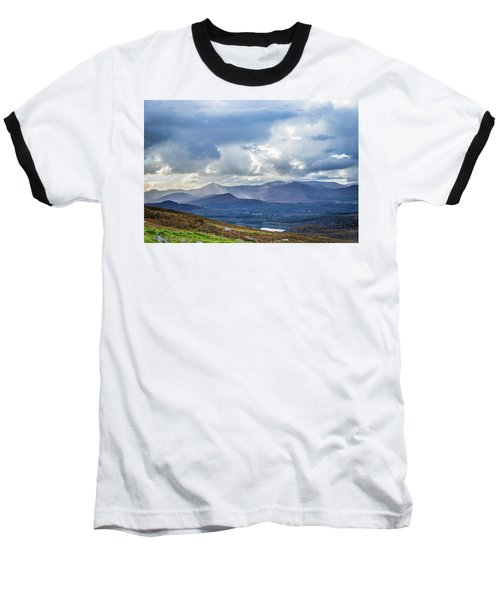 Sun Rays Piercing Through The Clouds Touching The Irish Landscap Baseball T-Shirt by Semmick Photo