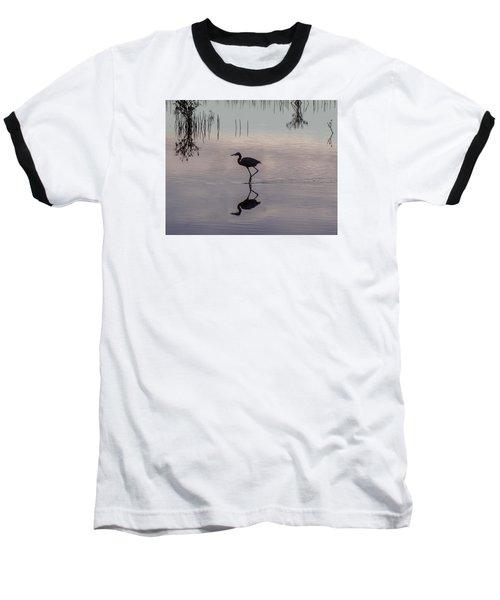 Sundown Heron Silhouette Baseball T-Shirt