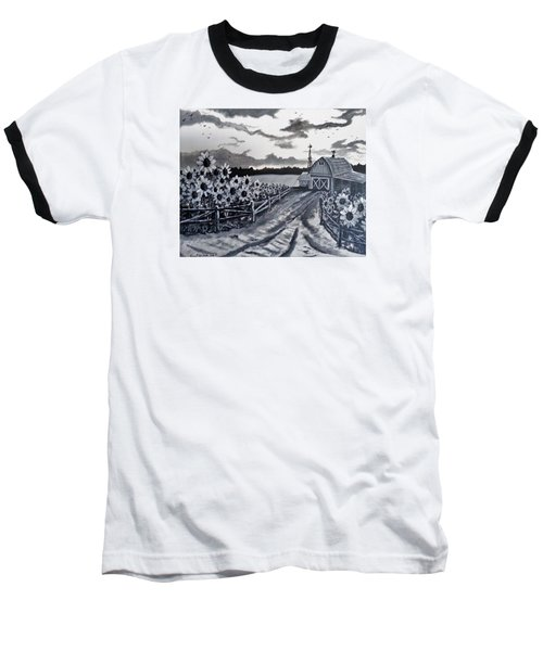 Baseball T-Shirt featuring the painting Sunflower Farm by Kevin F Heuman
