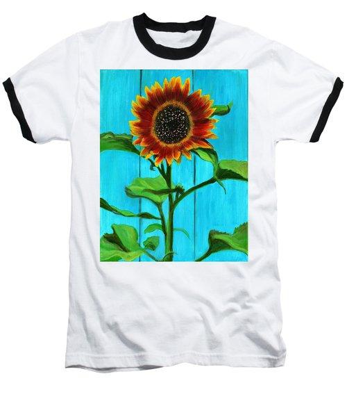 Sunflower On Blue Baseball T-Shirt