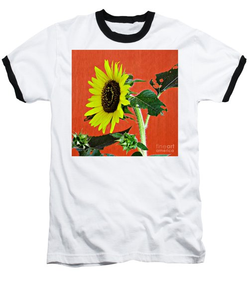 Baseball T-Shirt featuring the photograph Sunflower On Red 2 by Sarah Loft