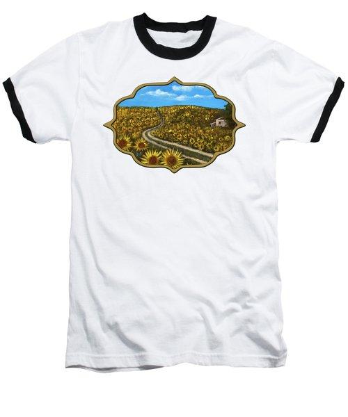 Baseball T-Shirt featuring the painting Sunflower Road by Anastasiya Malakhova