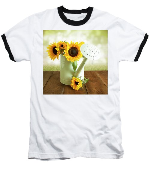 Sunflowers In An Old Watering Can Baseball T-Shirt