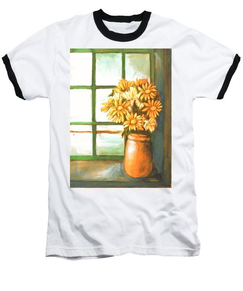 Baseball T-Shirt featuring the painting Sunflowers In Window by Winsome Gunning