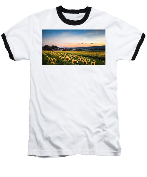 Baseball T-Shirt featuring the photograph Sunflowers, Moon And Stars by Eduard Moldoveanu
