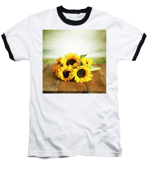 Sunflowers On A Table Baseball T-Shirt