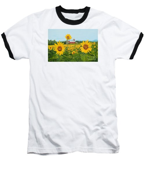 Sunflowers On Route 45 - Pennsylvania- Autumn Glow Baseball T-Shirt